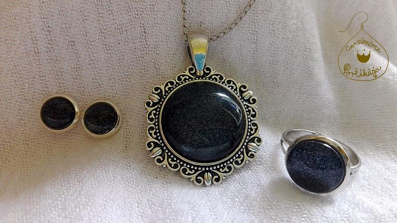 Cserszömörce Portékája - Gyöngyház fekete ékszer szett