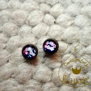 Cserszömörce Portékája - Rózsaszínes kisvirágos fülbevaló