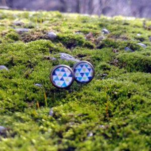 Cserszömörce Portékája - Kékzöld háromszögek fülbevaló