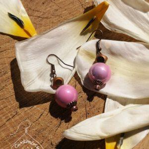 Cserszömörce Portékája - Rózsaszín csillogás fülbevaló